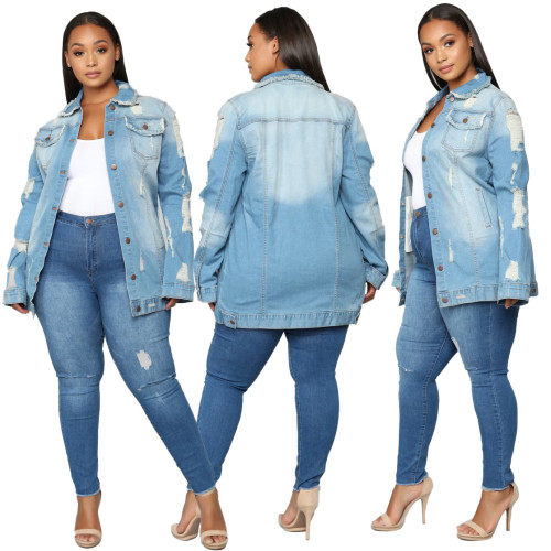 plus size sexy fashion jeans jacket 9866