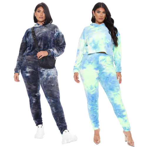 plus size women two piece hoodie tracksuit set 9922