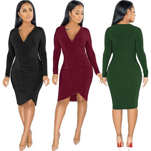 sexy v-neck fashion long sleeve dress 2597