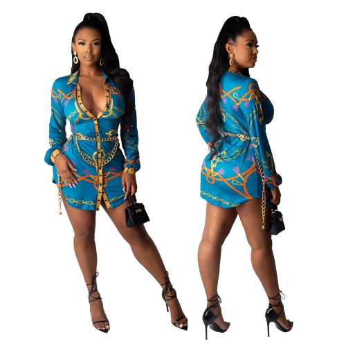 long sleeve women blouse dress  9820