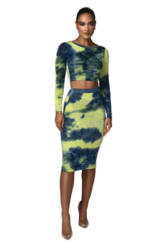sexy fashion long sleeve two piece skirt set 2600