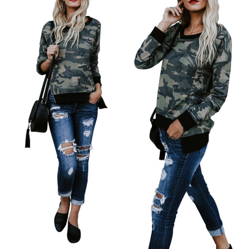 Ladies camo top sweater 4169