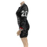 plus size sexy v-neck sequin dress 21025