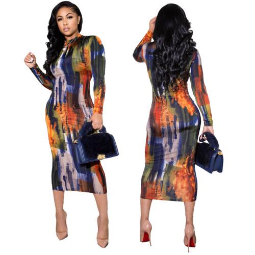 sexy tie dye long sleeve dress 9984