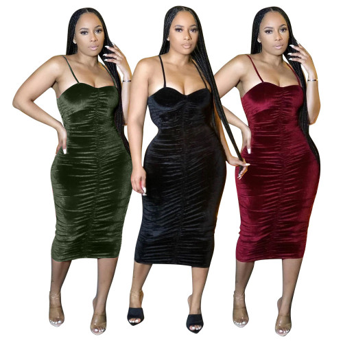 Ladies velour dress LD9095