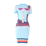 women hot sell Multicolor printed dresses 2619