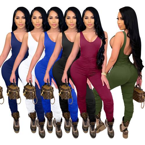 sleeveless women stacked jumpsuit  2617