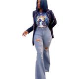 Women bell bottom jeans pants LD9078