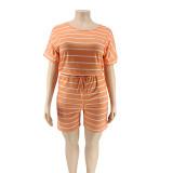 plus size women  strip short romper 20769