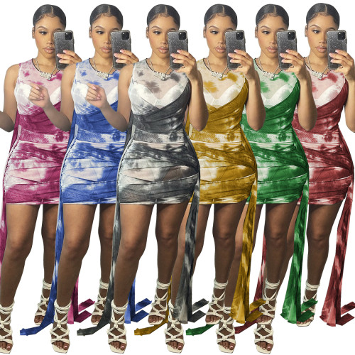 Summer tie dye beach dress G0387