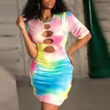 sexy tie dye dress 4257
