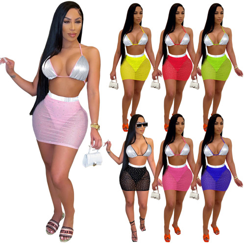 Beach 2 pieces bikini skirt set 4209
