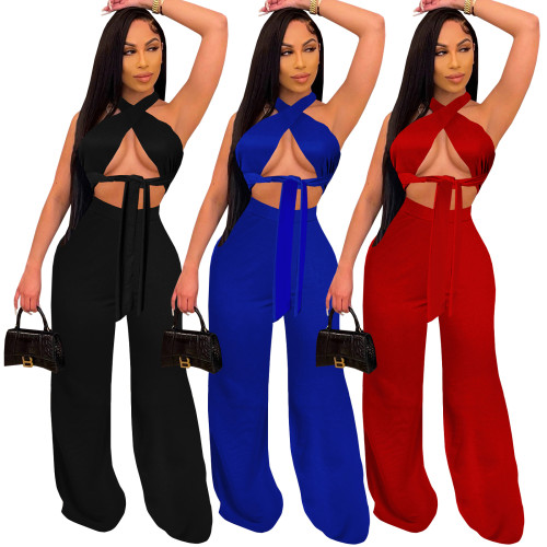 Two pieces flare pants set 4254