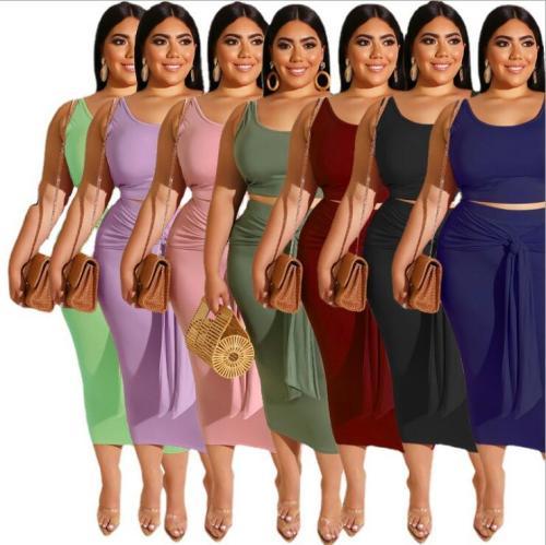 plus size women two pcs skirt set 19316