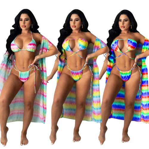 plus size sexy two pieces swimwear with cover up  CM2117