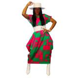 plus size printing dress  21090