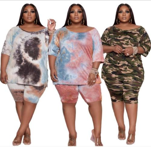 plus size  two piece tie dye short  set 21069