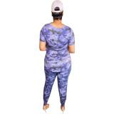 v-neck two piece camo pants  set 21063