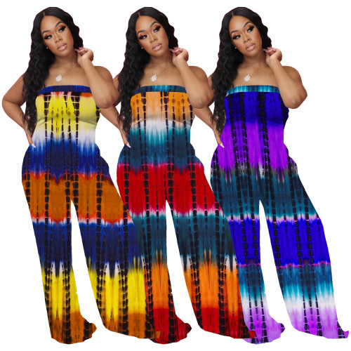 Tube tie dye women jumpsuit 4270