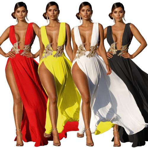 v-neck Summer women maxi dress G0393