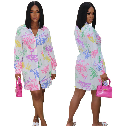 sexy printed blouse dress LD9161