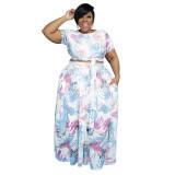 fashion plus size  two piece skirt set 21129