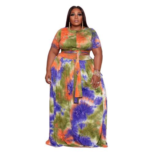 tie dye  plus size  two piece skirt set 21087