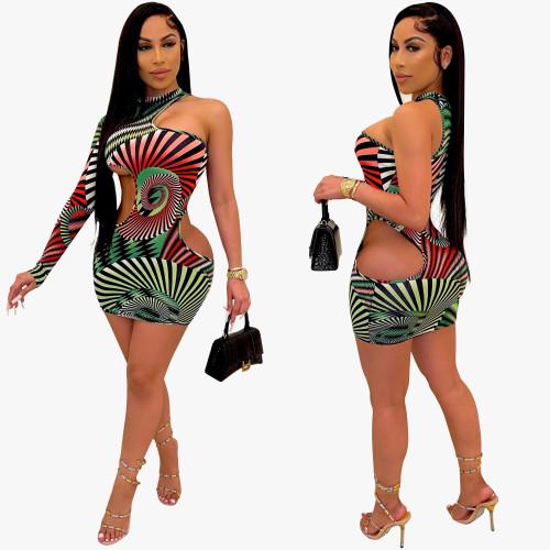 one shoulder women dress N391