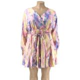 plus size v-neck wome dress   21086
