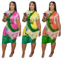 Summer tie dye dress H3519