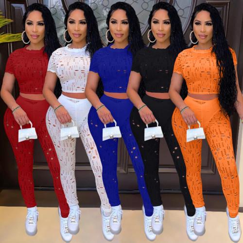 Women hollow out pants set Y10016