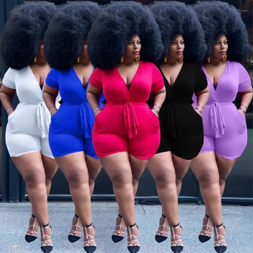Women V neck jumpsuit Y10006