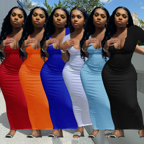 Women U neck long dress H3718