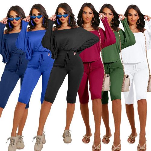 long sleeve two piece pants set 2558