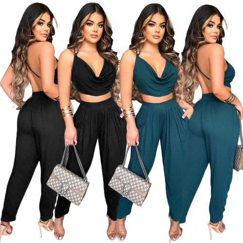 backless women pants set S390149