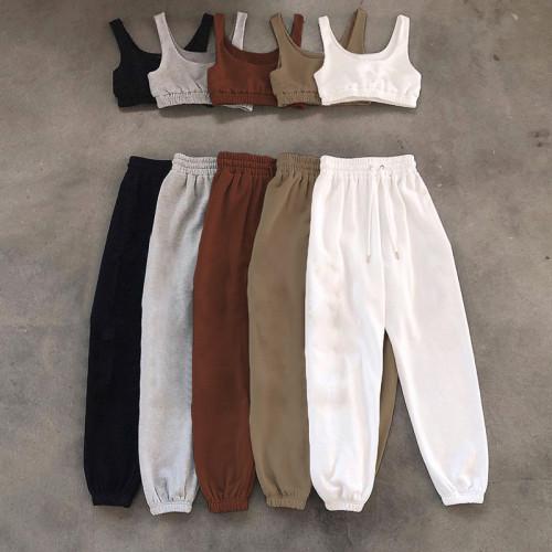 Vest desgin crop top pants set K21S02340
