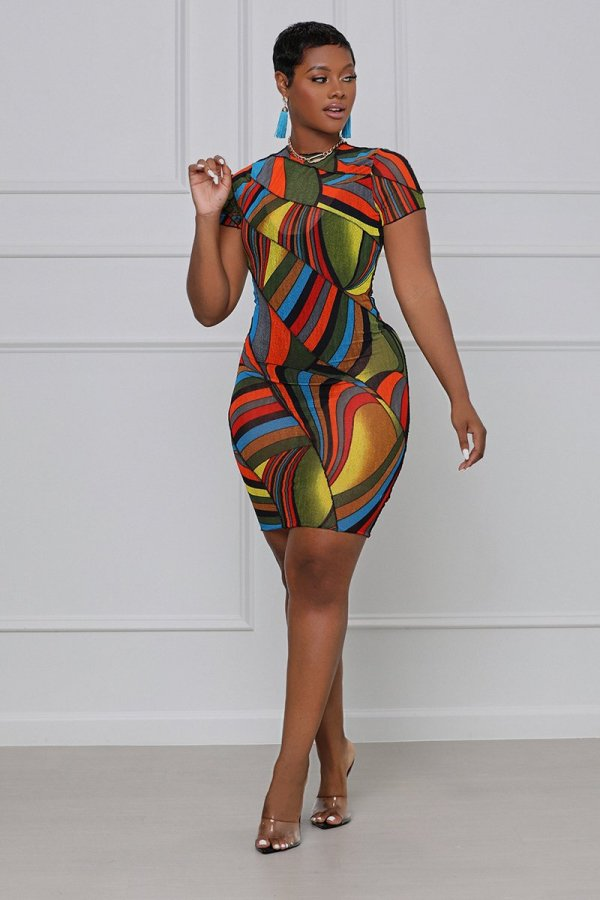 Summer mesh stretchy dress M7076