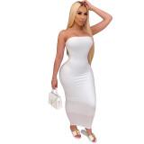 Stretchy tube long dress M2838