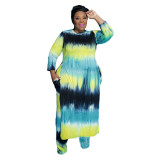 plus size tie dye fall and winter two piece pants set 21233