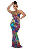 sexy women printed maxi dress 2649