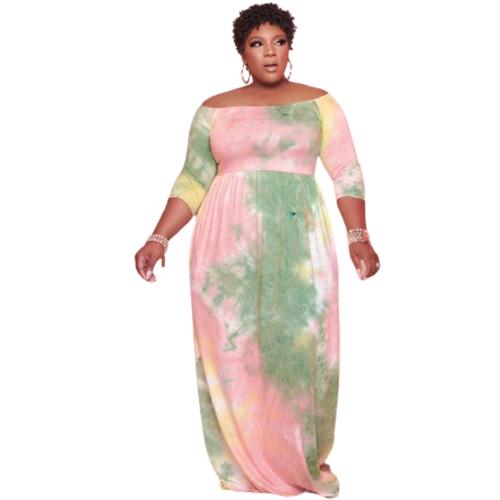 plus size tie dye dress LD81031