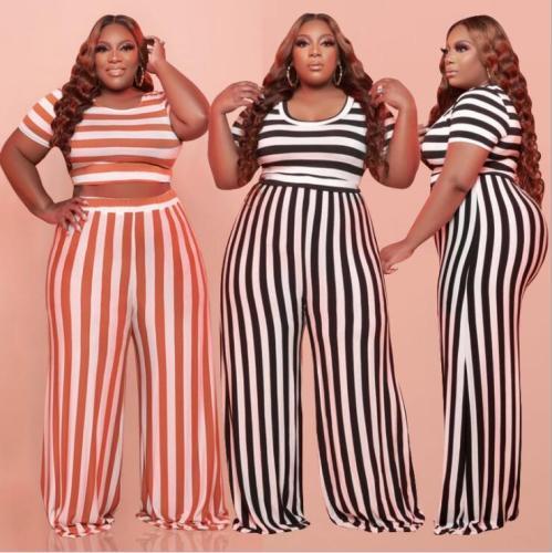 plus size two piece strip pants set 21226