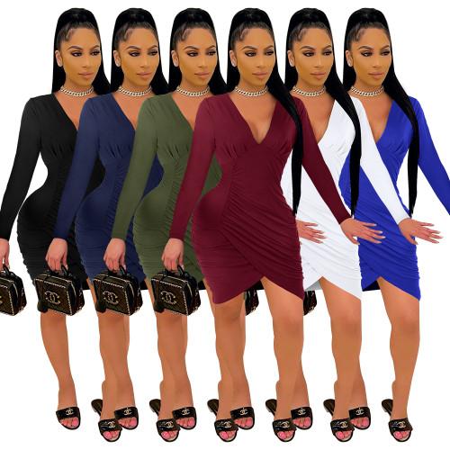 long sleeve v-neck stacked women dress 2660