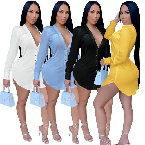 v-neck women blouse dress H0098