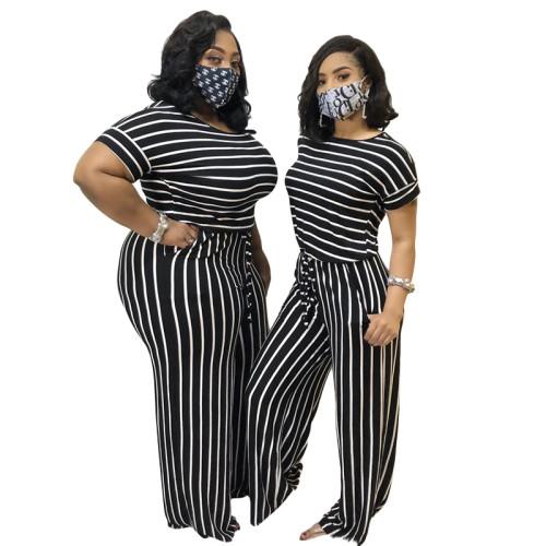 plus size two piece strip pants set 20793
