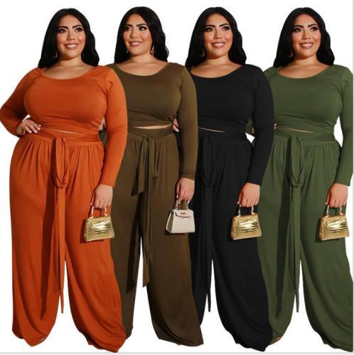 plus size two piece pants set 21259