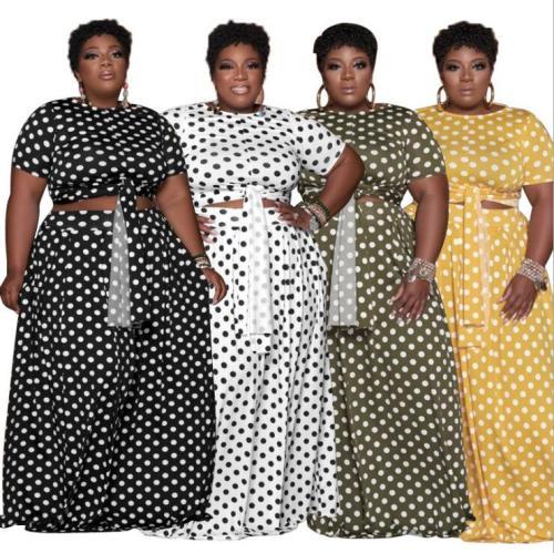 plus size two piece skirt set 21227