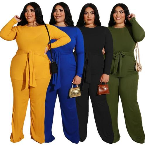 plus size two piece pants set 21261