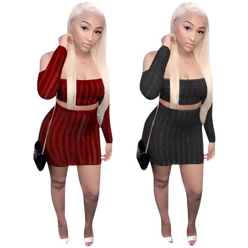 Long sleeve skirt set 4319