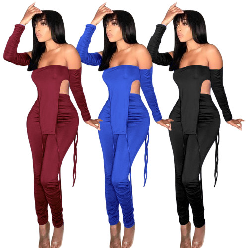 stacked  two piece pants set 2662